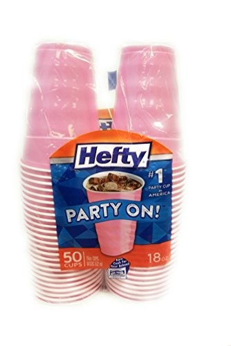 Hefty Easy Grip Plastic Cups, 18 Oz, 50 Ct, pastel Pink