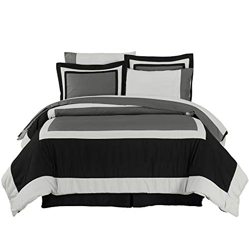 Chezmoi Collection 8-pieces Black Gray Hotel Bed in a Bag Comforter with Sheet Set, California King - Alternatives California King Sheet Set
