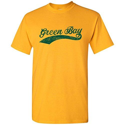 - Green Bay City Baseball Script Basic Cotton T-Shirt - Medium - Gold