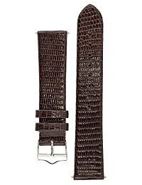 Signature Lizard in brown 18 mm short watch band. Replacement watch strap. Genuine Lizard skin. Shine. Silver Buckle