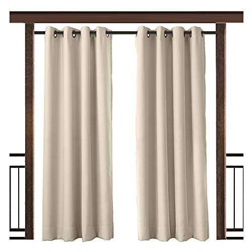 (TWOPAGES Outdoor Curtain Waterproof Rustproof Grommet Drape Beige (Set of 2 Panels) 52 W x 63 L Inch, for Front Porch Pergola Cabana Covered Patio Gazebo Dock Beach Home)