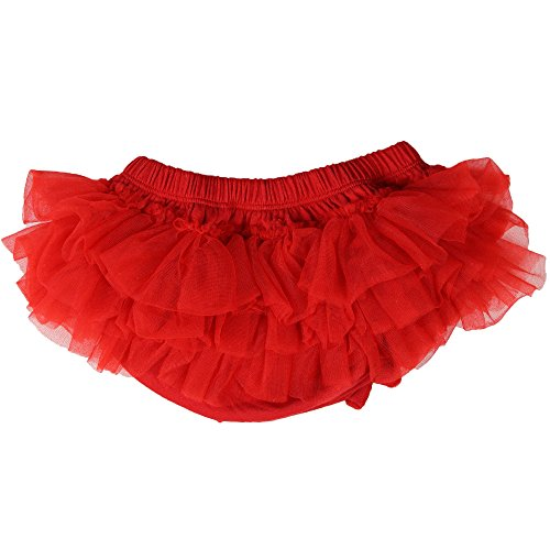 (juDanzy Ruffle Chiffon or Satin Tutu All Around Bloomer Diaper Cover (0-6 Months, Red))