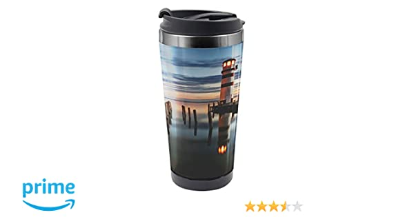 Mugzie 20 Ounce MAX Stainless Steel Travel Mug with Wetsuit Cover Lighthouse Of Michigan Art Plates