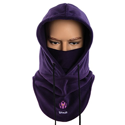 UPMALL Tactical Balaclava Full Face Mask Fleece Warm Winter Outdoor Sports Mask Wind-Resistant Hood Hat (Purple)