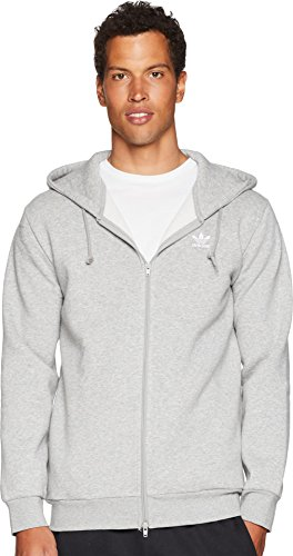 adidas Originals Men's Trefoil Full-Zip Fleece Hoodie, Medium Grey Heather, S