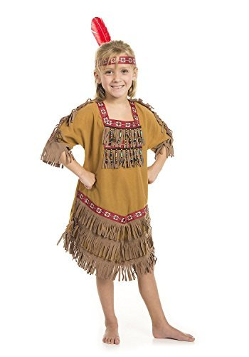 American Indian Princess Girl Costume with Feather Headband (SM 4/6) Tan