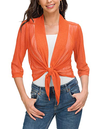 Women's Classic 3/4 Sleeve Open Front Cropped Cardigans Orange