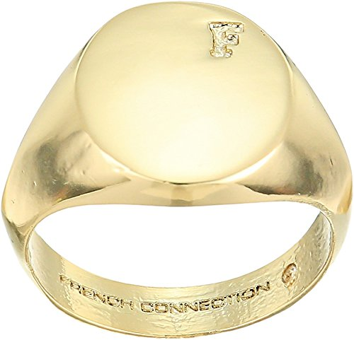French Connection Womens Signet Ring Gold 7 One Size - 0.1 Ounce Miniature