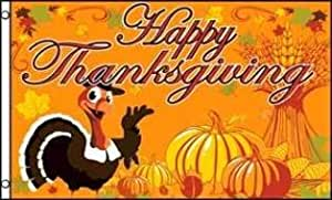 HAPPY THANKSGIVING TURKEY FLAG, 3'x5' cloth poster sign banner