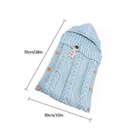 para ni/ños y ni/ñas cochecito y sacos de dormir Manta para beb/é reci/én nacido de 0 a 12 meses con bot/ón marr/ón G saco de dormir de lana para dormir