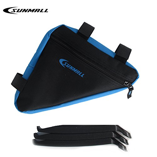SUNMALL Mini Bike Bicycle Commuting Bag Storage Bag,Removable Frame Triangle Bike Bag,Black and Blue Bike tool kit Bag for kids Men Women (6 Months - Womens Kits Cycling
