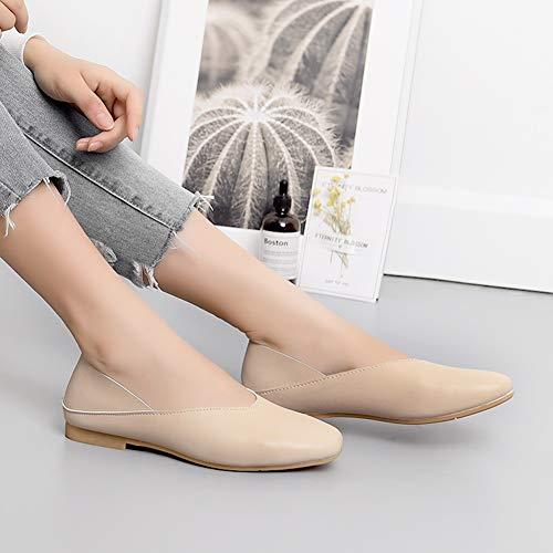 Femme Couleur Abricot Mocassins Femmes Hwf Chaussures Brown Cuir Taille Casual Mode couleur De Conduite Confortable 37 Plates Pour Bateau gxdXXUT