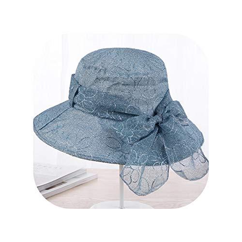 Summer Sun Hats for Women Fashion Design Women Cotton Beach Folding Hat Wing Bucket Hat,Blue ()