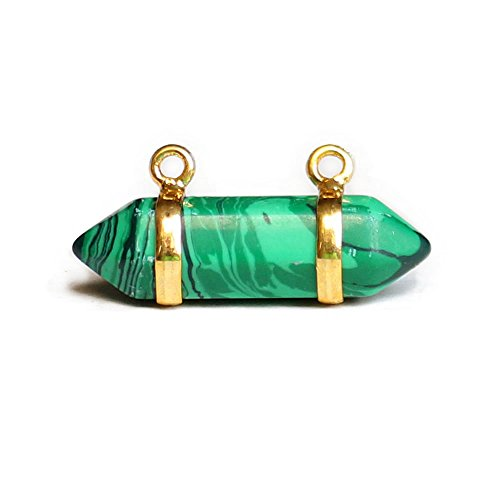 Happy Hours - 1 Pc Double Wrapped Wire Crystal Pendant Fits Necklace / Head Square Pointed Healing Chakra Stone(Malachite)