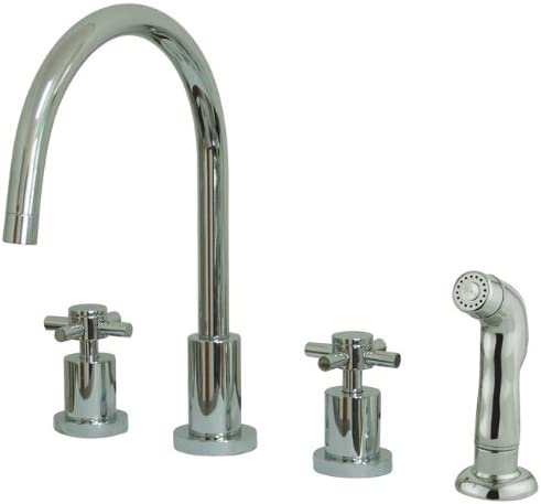 Kingston Brass KS8721DX Concord Widespread Kitchen Faucet with Sprayer, Polished Chrome, 8 Spout Reach