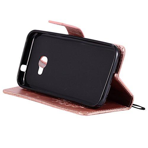 Trumpshop Smartphone Carcasa Funda Protección para Samsung Galaxy Xcover 4 (G390) [Gris] 3D Mandala PU Cuero Caja Protector Billetera Choque Absorción Oro Rosa