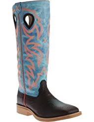 Twisted X Youth Unisex Blue Leather Embroidered Buckaroo Cowboy Boots