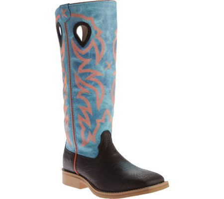 Twisted X Youth Unisex Blue Leather Embroidered Buckaroo Cowboy Boots B01ASI5PMG 3 M US Little Kid|Distressed Brown