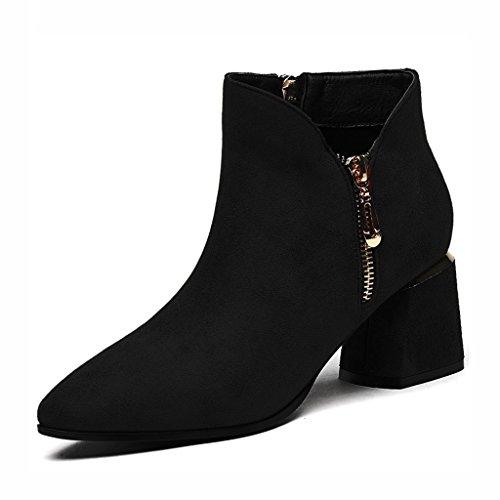 Zapatos para mujer HWF Zapatos Individuales Primavera y Primavera Boca Baja Zapatos de Tacón Alto Zapatos de Cuero Negro (Color : Marrón, Tamaño : 35) Negro