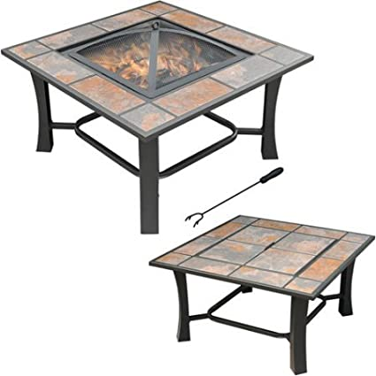 Outdoor Fire Pit Coffee Table.Axxonn 2 In 1 Malaga Square Tile Top Wood Burning Outdoor Fire Pit Coffee Table On Sale Multicolor