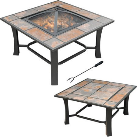 Axxonn 2-in-1 Malaga Square Tile Top Wood Burning Outdoor Fire Pit/Coffee Table on Sale, Multicolor (Tables Top Tile Coffee)