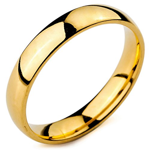 4 Mm Wide Ring - INBLUE Men,Women's Wide 4mm Stainless Steel Ring Band Gold Tone Wedding Size11