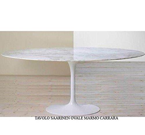 saarinen Tavolo Tulip Ovale 199X121 CM Marmo Carrara Made in Italy