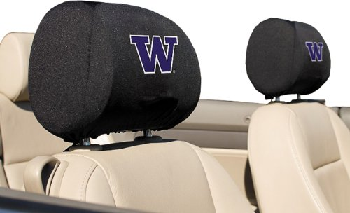 NCAA Washington Huskies Headrest Covers, Set of 2 (Washington Covers Headrest Nationals)
