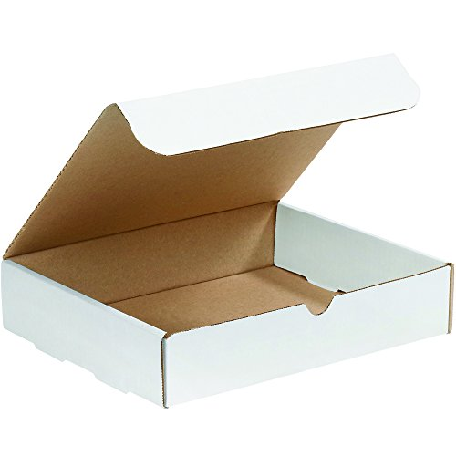 Boxes Fast BFM1292 Corrugated Cardboard Literature Mailers, 12 1/8 x 9 1/4 x 2 Inches, Tuck Top One-Piece, Die-Cut Shipping Boxes, Large White Mailing Boxes (Pack of 50) ()