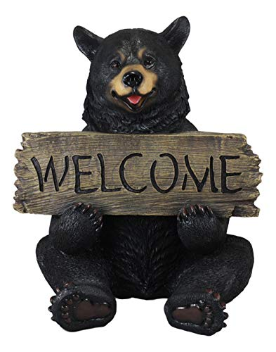 Ebros Large Rustic Sitting Black Bear Welcome Guest Greeter Statue Whimsical Woodlands Beary Cheerful Animal Decor Figurine (Welcome Statue Bear)