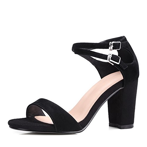Solid Womens MJS02676 Pleather Buckle Black Heels 1TO9 Chunky Heeled MJS02676 UK Black33 Sandals 2 7I1dqgRARy