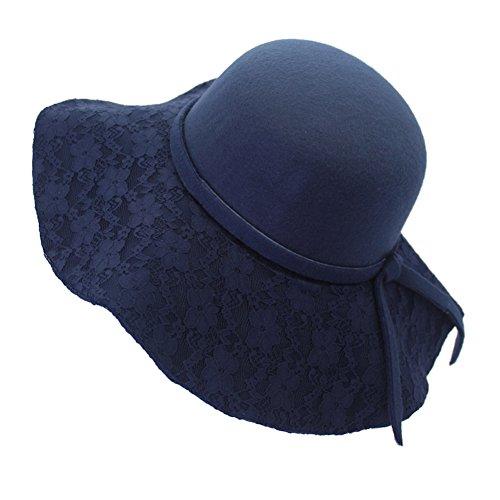 Home Prefer Chic Ladies Wide Brim Floppy Winter Hat Wool Felt Cloche Bowler Hat Navy Blue