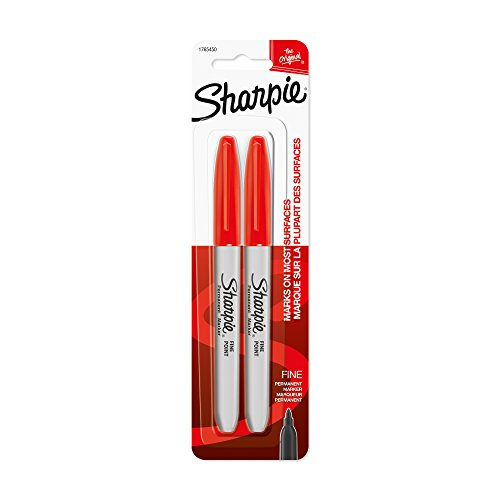 (Sharpie Permanent Markers, Fine Point, Red, 2-Pack (1765450) )