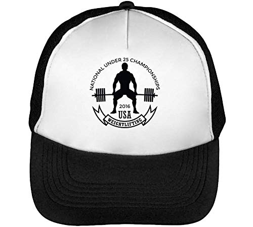 Blanco Beisbol Weightlifting Badge Gorras Usa Sport Hombre Snapback Negro Yz8RAx