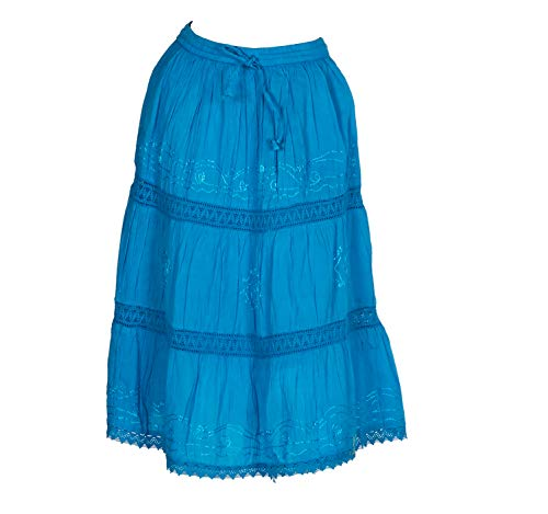 - Women's Indian Skirts with Solid Embroidered Design (IND#247) (Turquoise)