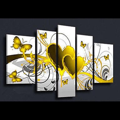[Sanbay Art 100% Hand Painted Oil Paintings on Canvas Hot Sale Yellow Heart Butterfly Wood Framed Inside 5-pieces Set Artwork for Living Room Kitchen and Home Wall] (Costumes Gallery In Stock)