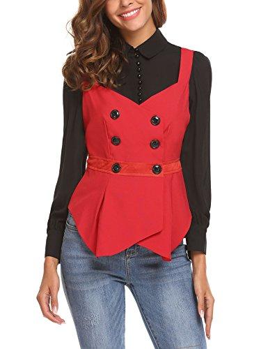 (Zeagoo Women's V-Neck Sleeveless Slim Fit Economy Dressy Suit Vest Waistcoat Red/XXL )