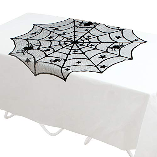 Elcoho 2 Pieces Halloween Black Spider 40 Inch Halloween Lace Table Topper Cloth for Halloween Table Decorations 1 Black Overlay 1 White Liner -