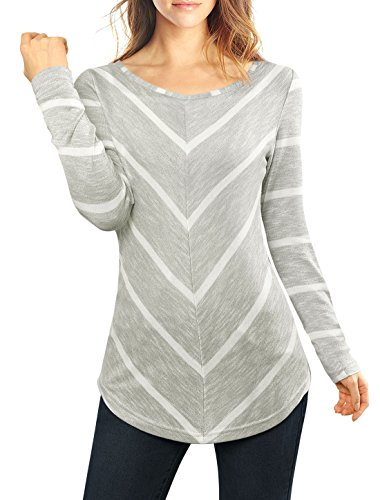 [Allegra K Women Striped Chevron Print Tunic Top Grey M] (Long Sleeve Print Tunic)