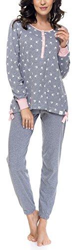a pigiama pigiama maniche Grigio e da DN Isabella allattamento Rosa lunghe per donna Nightwear gravidanza vII5wqF