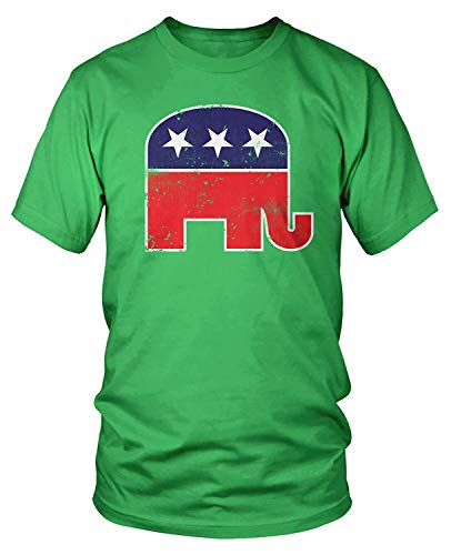RSHSJCZZY Men's Summer Fashion Short Seleves T-Shirt Republican Elephant T-Shirt Top Kelly Green Medium
