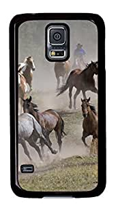 Diy Fashion Case for Samsung Galaxy S5,Black Plastic Case Shell for Samsung Galaxy S5 i9600 with Horse Roundup Montana