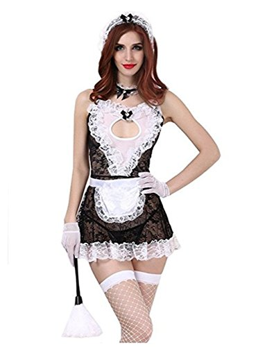 Nhmpretty Sexy Lingerie Costume, French Maid Lingerie For Women Sex Role (French Maid Corset Costume)