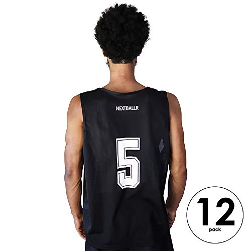 (NEXTBALLR Pinnies Jerseys Vests for Basketball Soccer Sports – Game Practice Scrimmage – Adult Teen Youth with Bold Back Numbers - Lightweight Mesh Bib – Moisture Wicking Shirt - Black Large 12 Pack)
