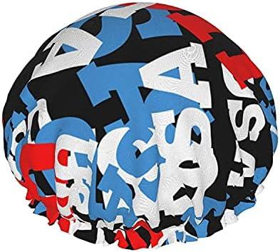 Dubbele Lagen Douche CapUSA Style Achtergrond Geschilderd Op Grunge WallHerbruikbare Waterdichte Elastische Badkappen voor Alle Haarlengtenstyle092pcs