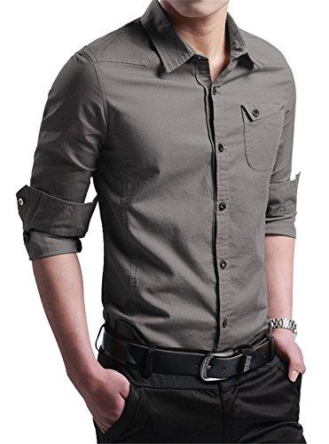(XTAPAN Men 100% Cotton Shirt Button Up Work Shirts Slim Fit Shirt Tag 6XL=US 2XL Navy Gray 3307)
