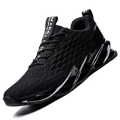 Vooncosir Mens Running Shoes Breathable Walking Blade Non Slip Athletic Tennis Shoes Lightweight Fashion Sneakers(12,Full Black)