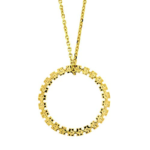 24mm Autism Awareness Jigsaw Puzzle Circle of Life Charm and Chain in 14K Yellow Gold ()