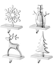 Christmas Stocking Holders for Mantel Set of 4 Reindeer Snowflake Snowman Pine Tree Vintage Metal Standing Stocking Hook Silver Sturdy Stockings Hanger for Fireplace Counter Window Decoration