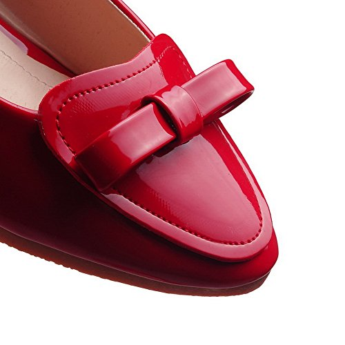 Toe Low Red Heels Closed Pumps PU Pull Shoes WeiPoot On Solid Women's PqT0wqxE7